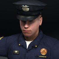 policeman police man 3d model