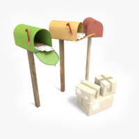 mailboxes letters package c4d
