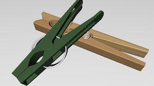 3d clothespegs peg model