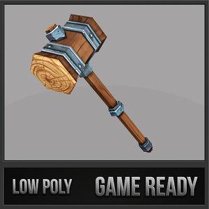 3d model wooden fantasy hammer