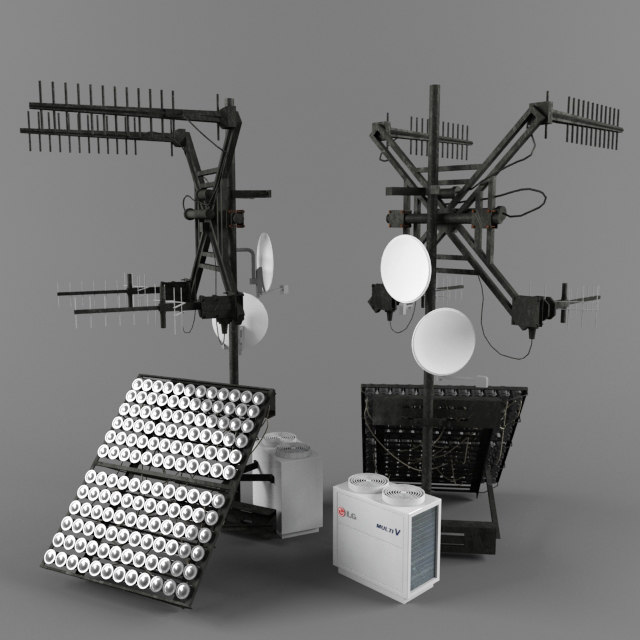 rooftop collection: tv aerial 3d model