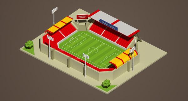 stadium tree billboard 3d model
