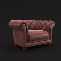 chesterfield armchair 3d max