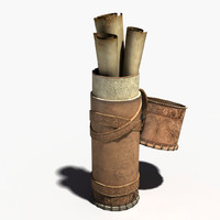 3d leather cylindrical papyrus model
