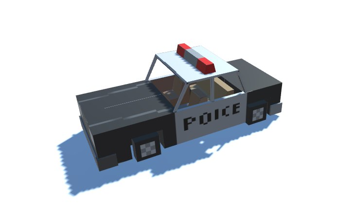 fbx minecraft style police car