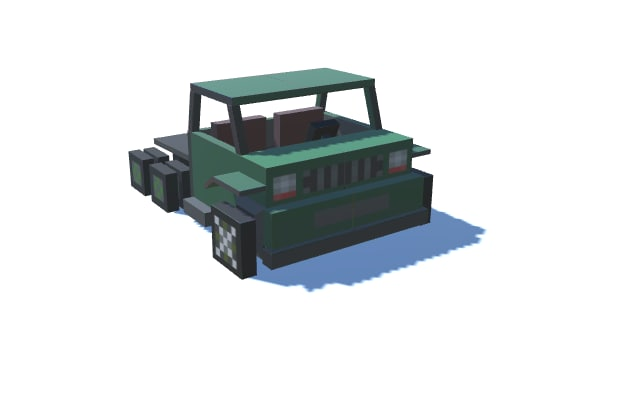 3d fbx simple minecraft style truck