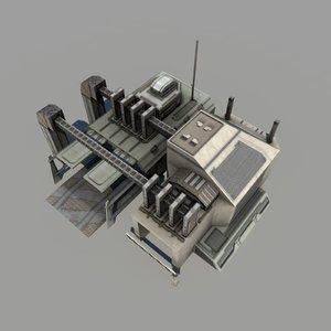 sci-fi vehicle bay polys 3d obj