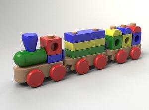 3d model toy train wood