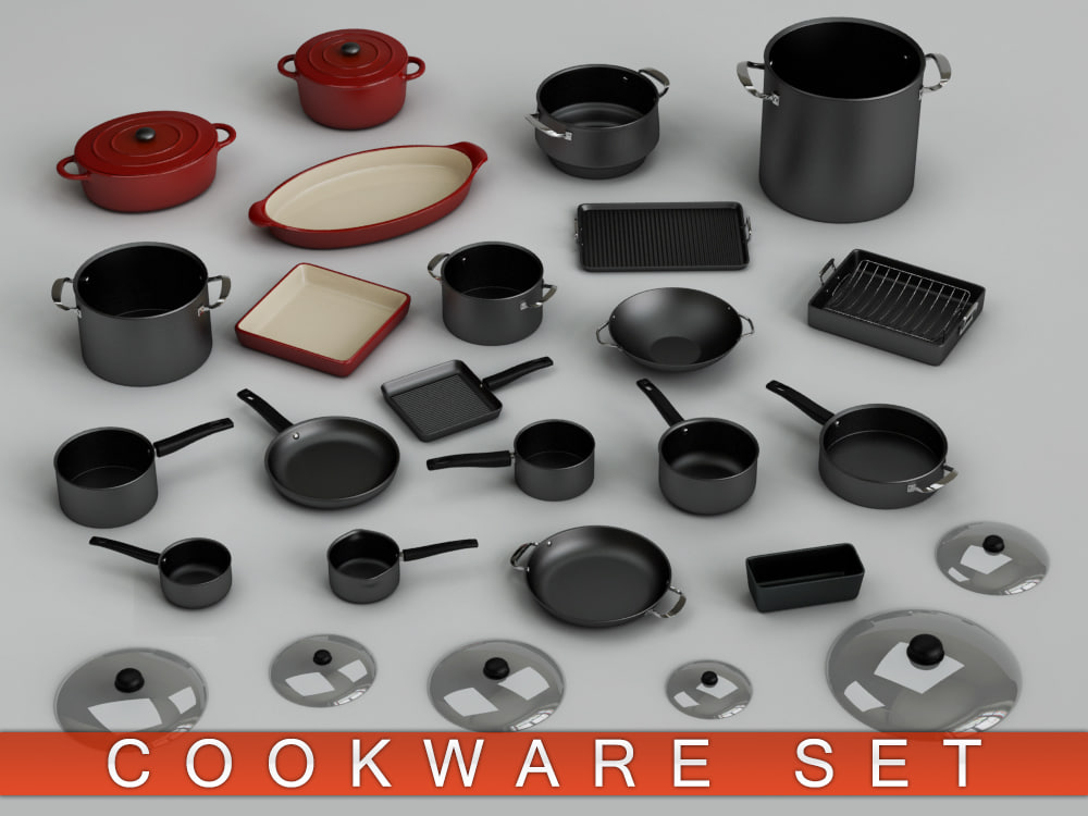 cookware pan rack 3d model