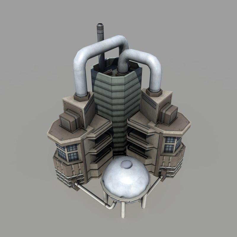3d sci-fi refinery polys
