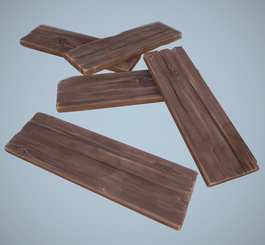 3d model stylized wooden planks
