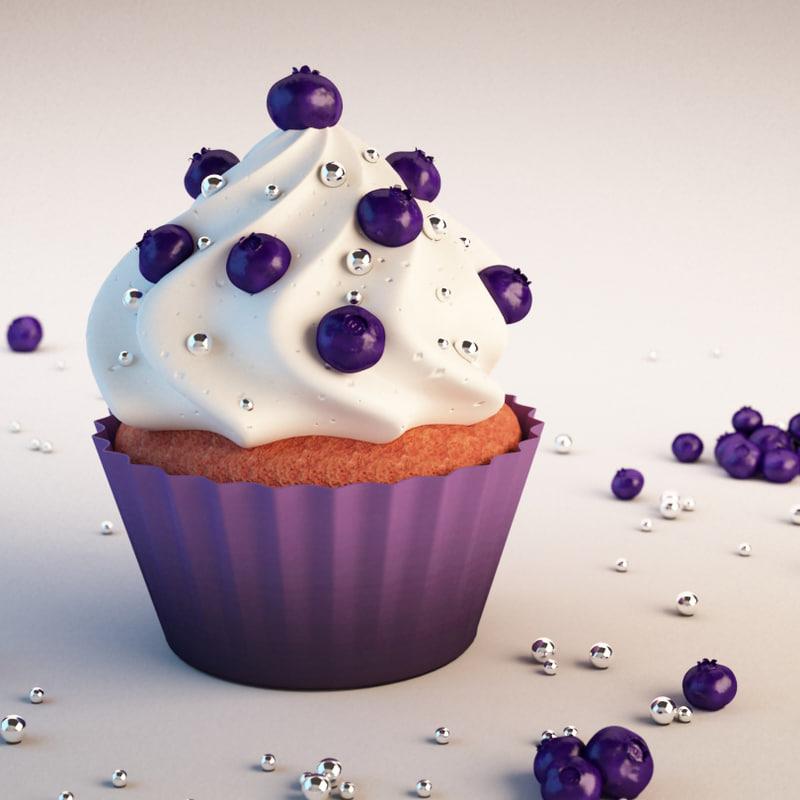 3d cupcake blueberries model