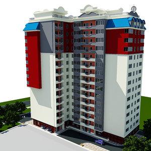 residential building city 3d obj