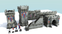 3ds medieval city wall