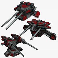 3 sci-fi turrets max