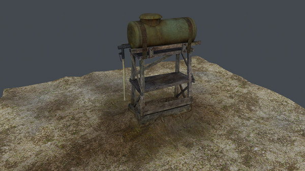 old water tank tower 3d model