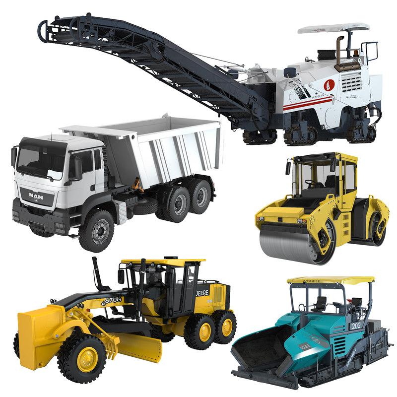3d road construction equipment