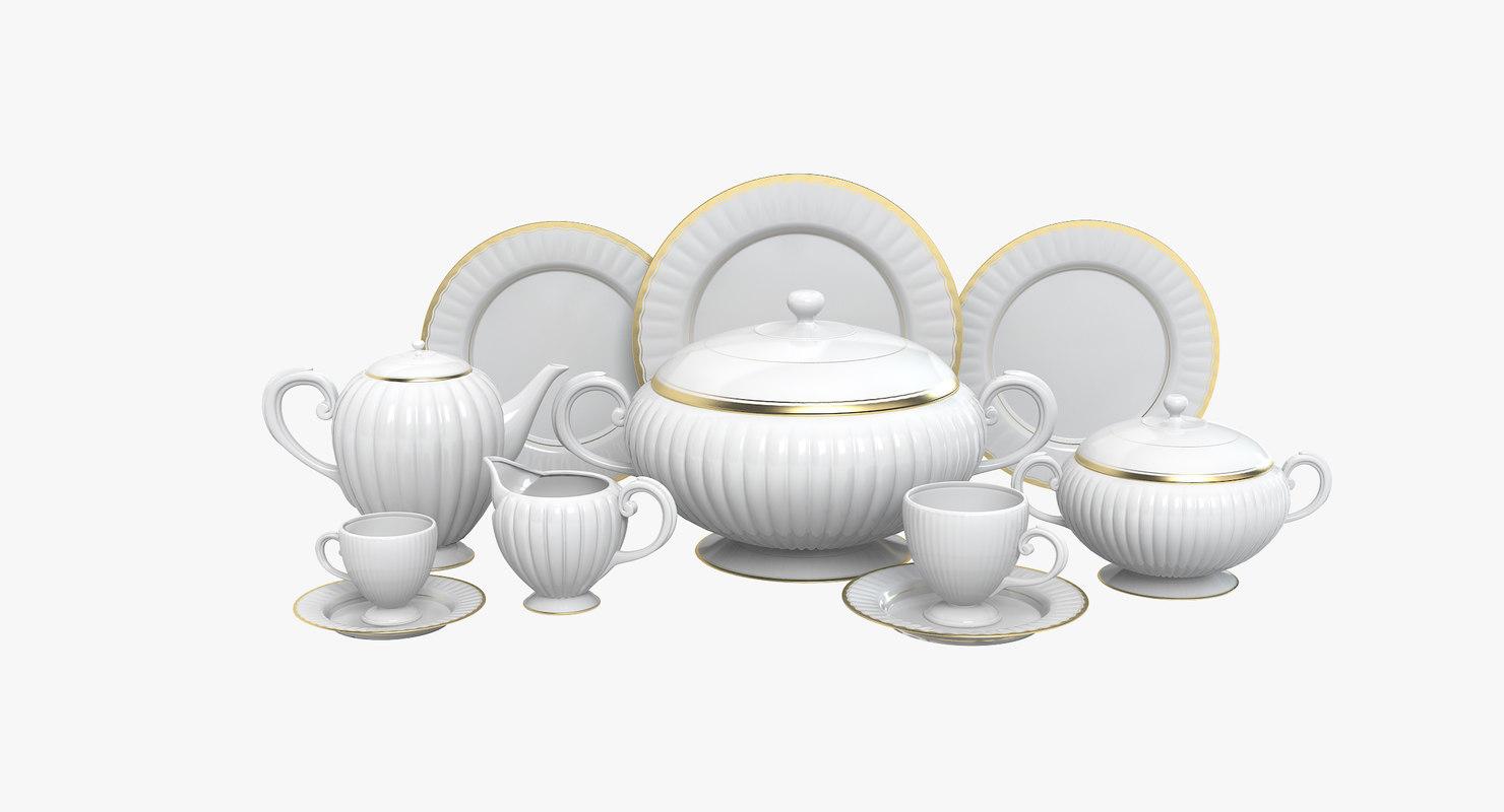 dinner porcelain set 3d model