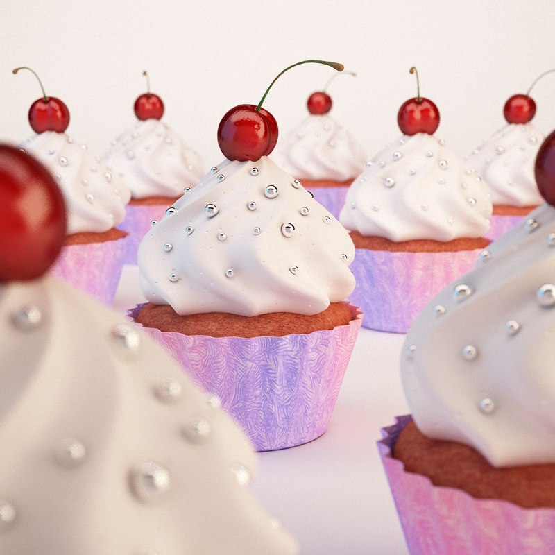 cup cherry cake 3d model