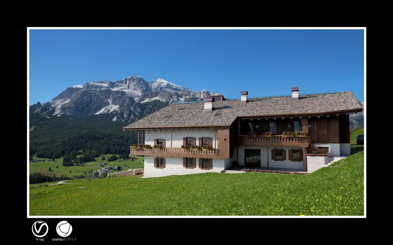 alpine house wood - 3ds