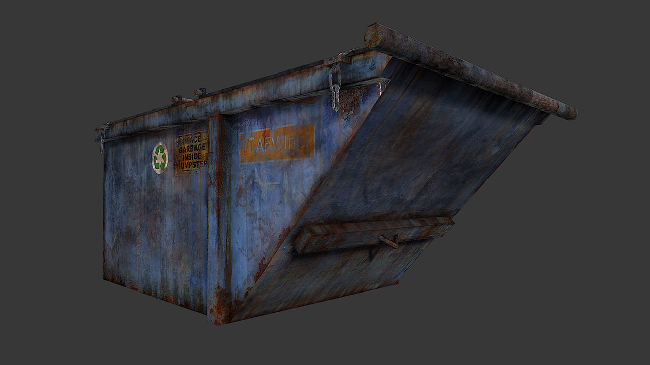 3d model old dirty dumpster