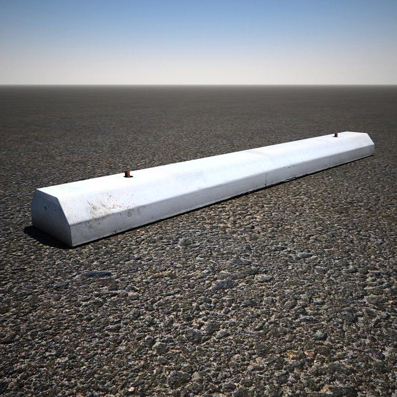 3d concrete parking stop model