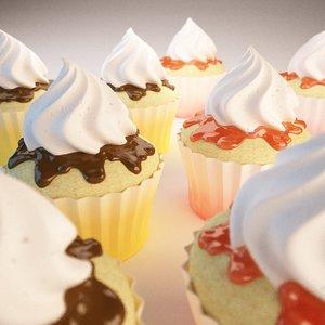 3d model cupcake chocolate strawberry