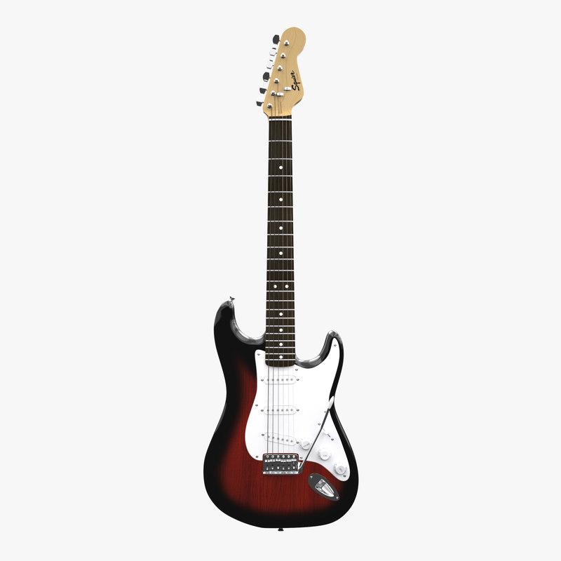 stratocaster guitar squier 3d model