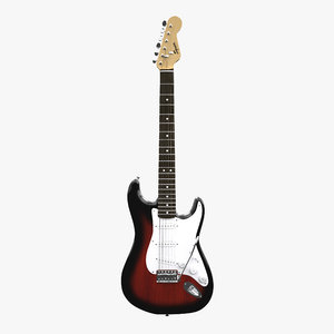 stratocaster guitar squier 3d model