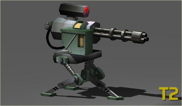 minigun turret 3d ma