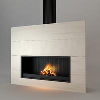 3d model modern fireplace