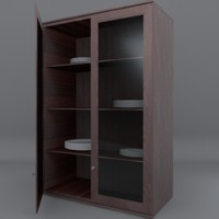 3d model tall double door cabinet