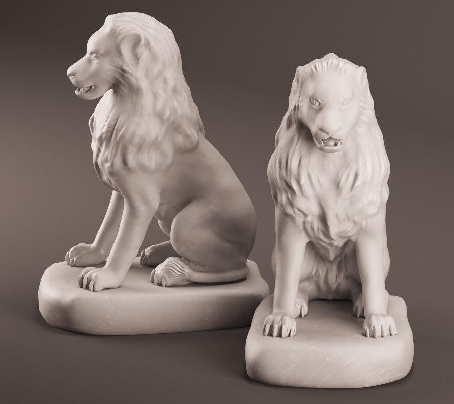 3d realistic lion sculpture model