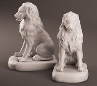 3d realistic lion sculpture model