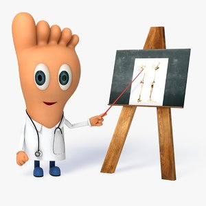 cartoon doctor foot character rigged obj