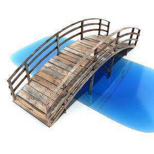 3d old wooden bridge model
