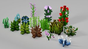 c4d minecraft library models: plants