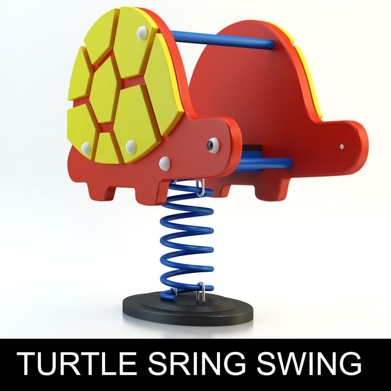 3d model turtle spring swing playground