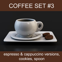 Coffee set #3: cups espresso & cappuccino, cookies, spoon (high poly models, ready for your coffeetable)