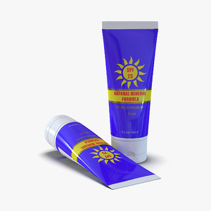 3d model sunscreen tube generic 2