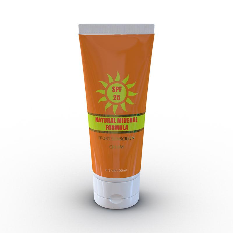 3d sunscreen tube generic model