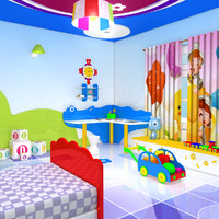 3d obj cartoon bed