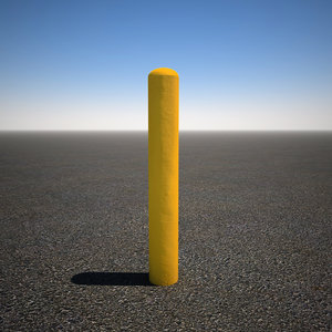 yellow concrete bollard 3d model