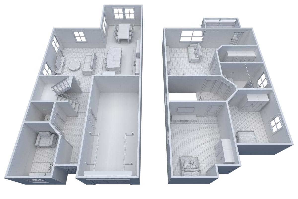 3ds furnitured house interior floor
