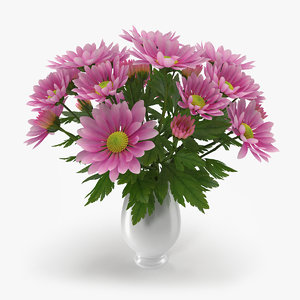 3d chrysanthemum vase model