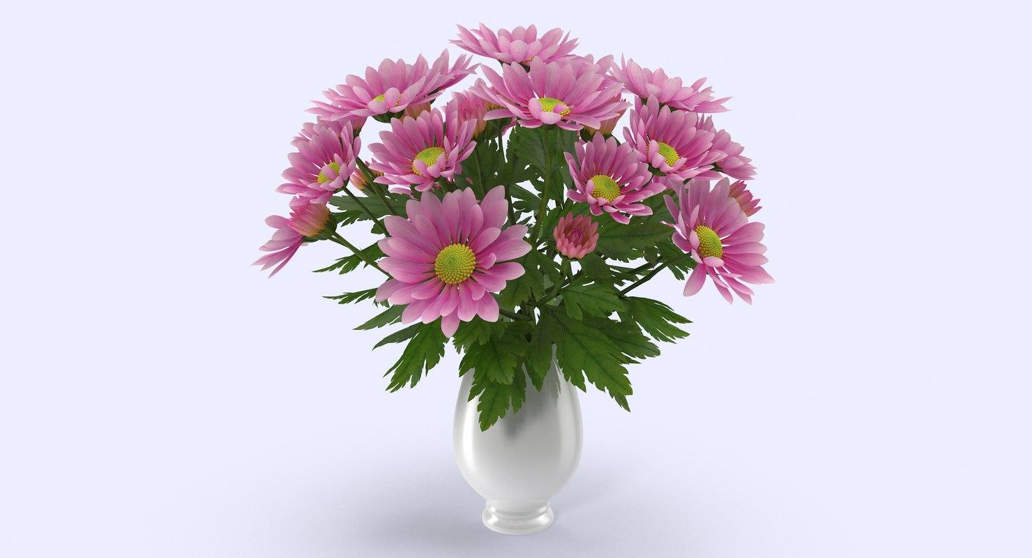 3d chrysanthemum vase model