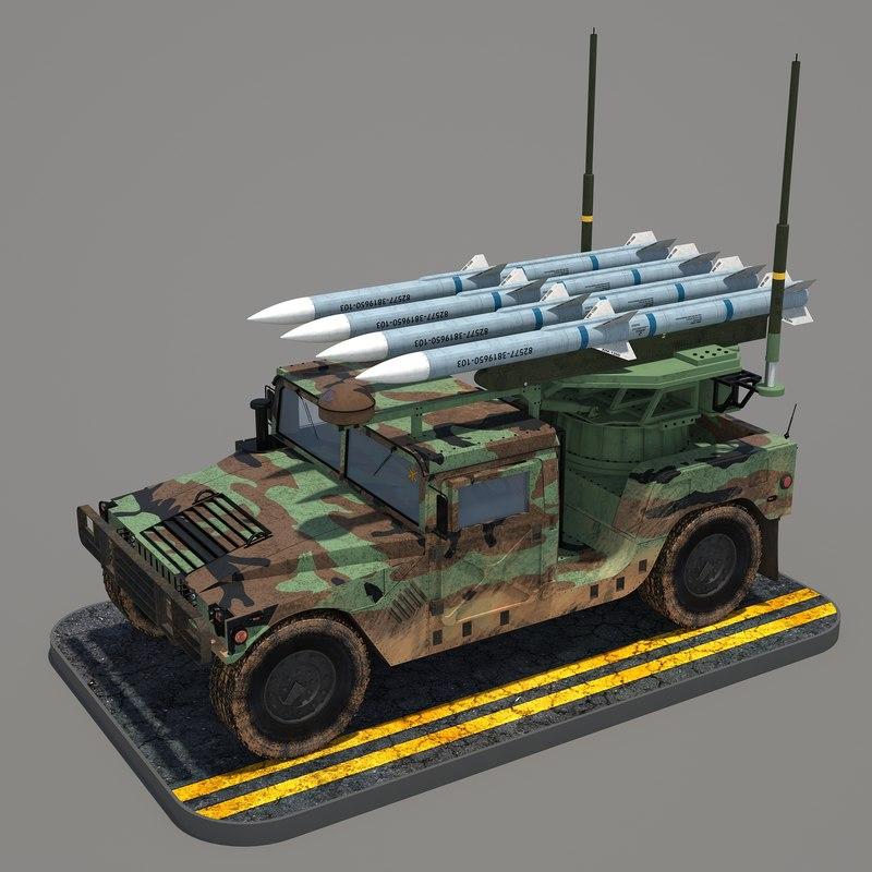 hmmwv humvee aim-120d 3d max