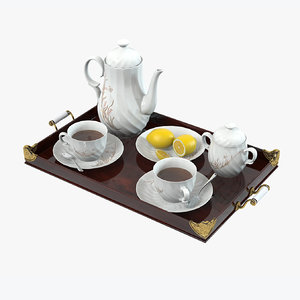 3d porcelain tea set lemons