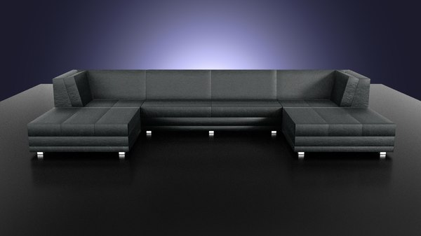 flat leather sofa 3d x