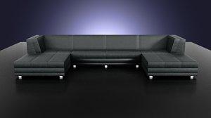 flat leather sofa 3d x